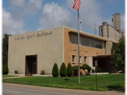 Front View of the Dickinson County Courthouse on a Partly Cloudy Day